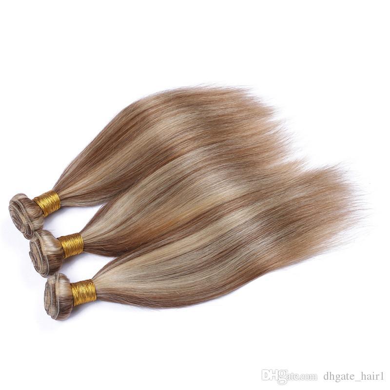 Recto peruano n. ° 8/de piano mezclado Paquetes de cabello humano Marrón claro y rubio Color de piano mezclado Doble tramas Ombre Telas de cabello humano