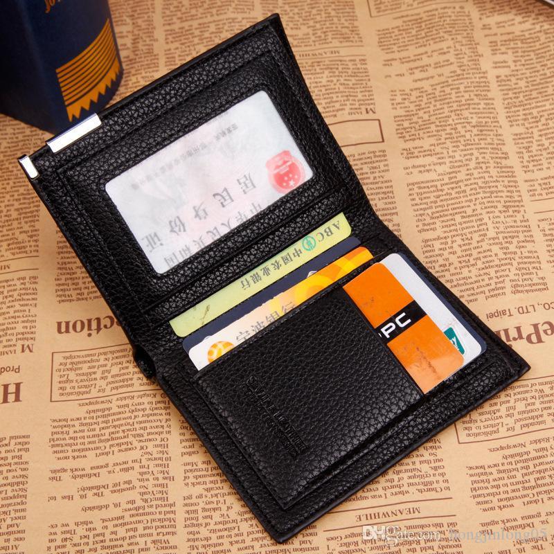 Ashion New Mens Wallets Lange Kurze Abschnitt Lychee Relief Schwarz Braun 2 Falten Kapazität Kreditkarteninhaber Geldbörse Kostenloser Versand