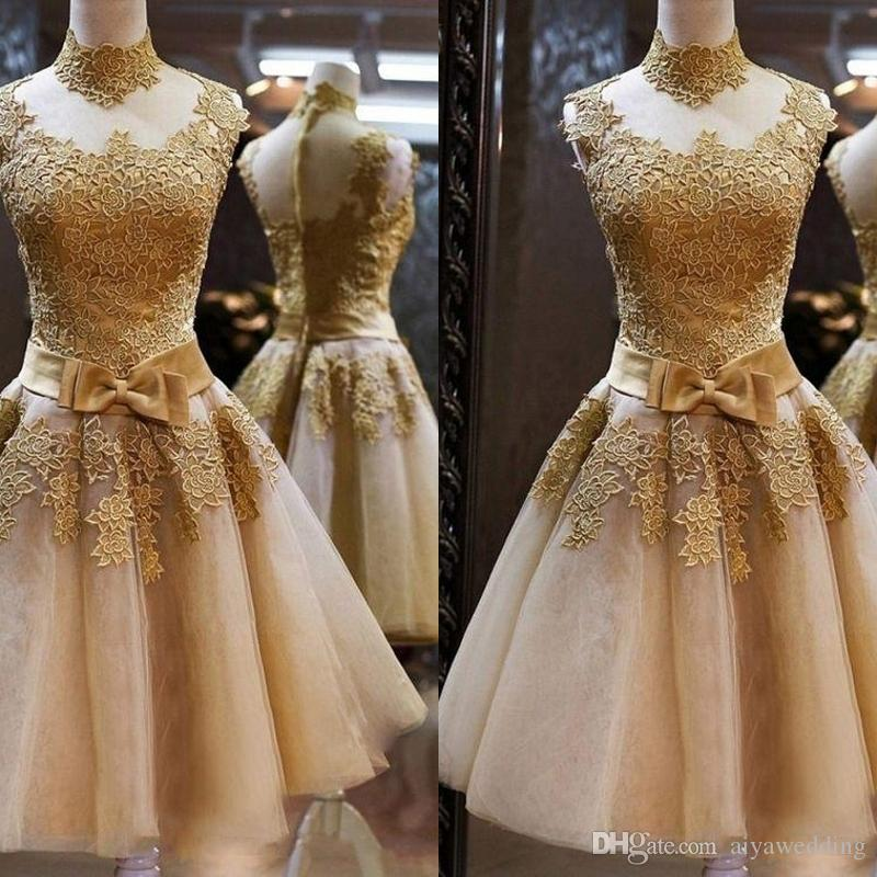 1c3d613b6d8 Charming Homecoming Dresses Gold Lace High Neck Sleeveless With Bow Waist Short  Prom Gown Cocktail Party Dresses Cheap Cocktail Dresses Under 50 Cheap ...
