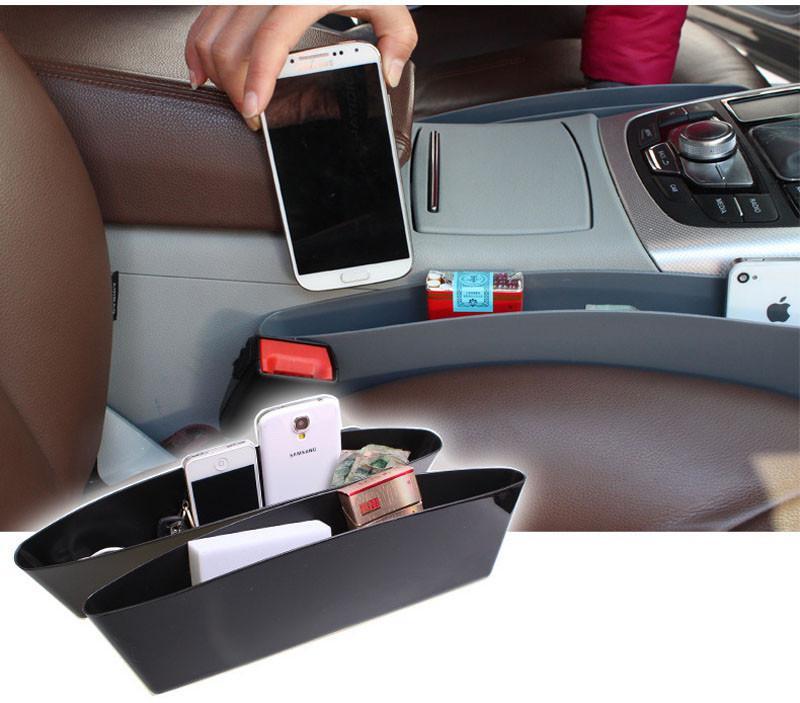 1 Пара Для Хранения Автомобиля Организатор Box Авто Зазор Щель Карманный Ловец Держатель Catch Caddy Seat Seam Пластиковый Телефон Коробка Для Хранения Бежевый Черный