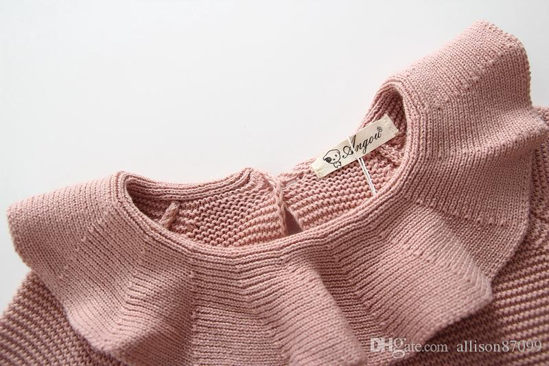 Boutique Ins Baby girl Knit Romper Cape collar Knitting Sweater Rompers for Infants 2017 Autumn Winter Hotsale 0-24M BABY