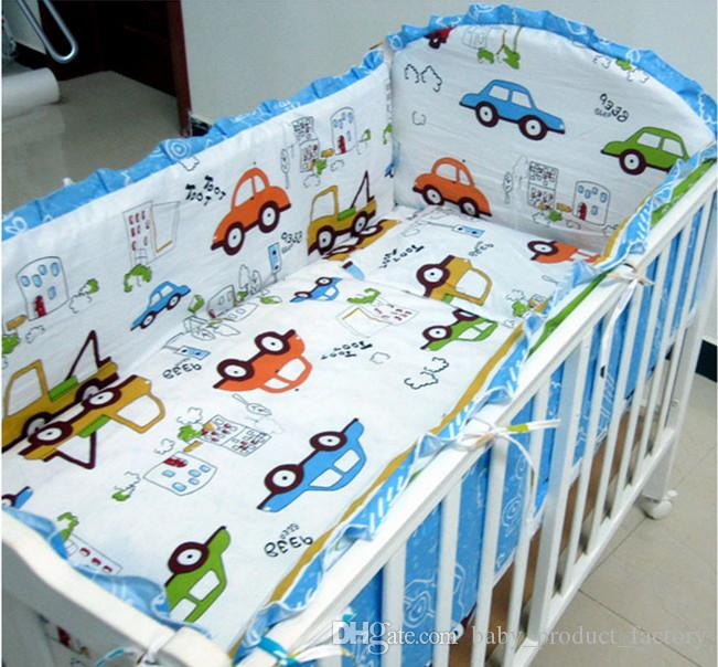 Promotion! Crib Bumper Baby Bedding Set for Boys Baby Bedding Kit Boy Crib Set,100% Cotton ,include4bumpers+sheet+pillowcase