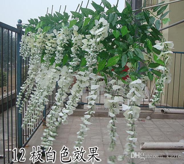 Sıcak Satış Ipek Çiçek sevgililer Günü Için Yapay Çiçek Wisteria Vine Rattan Ev Bahçe Otel Düğün Dekorasyon