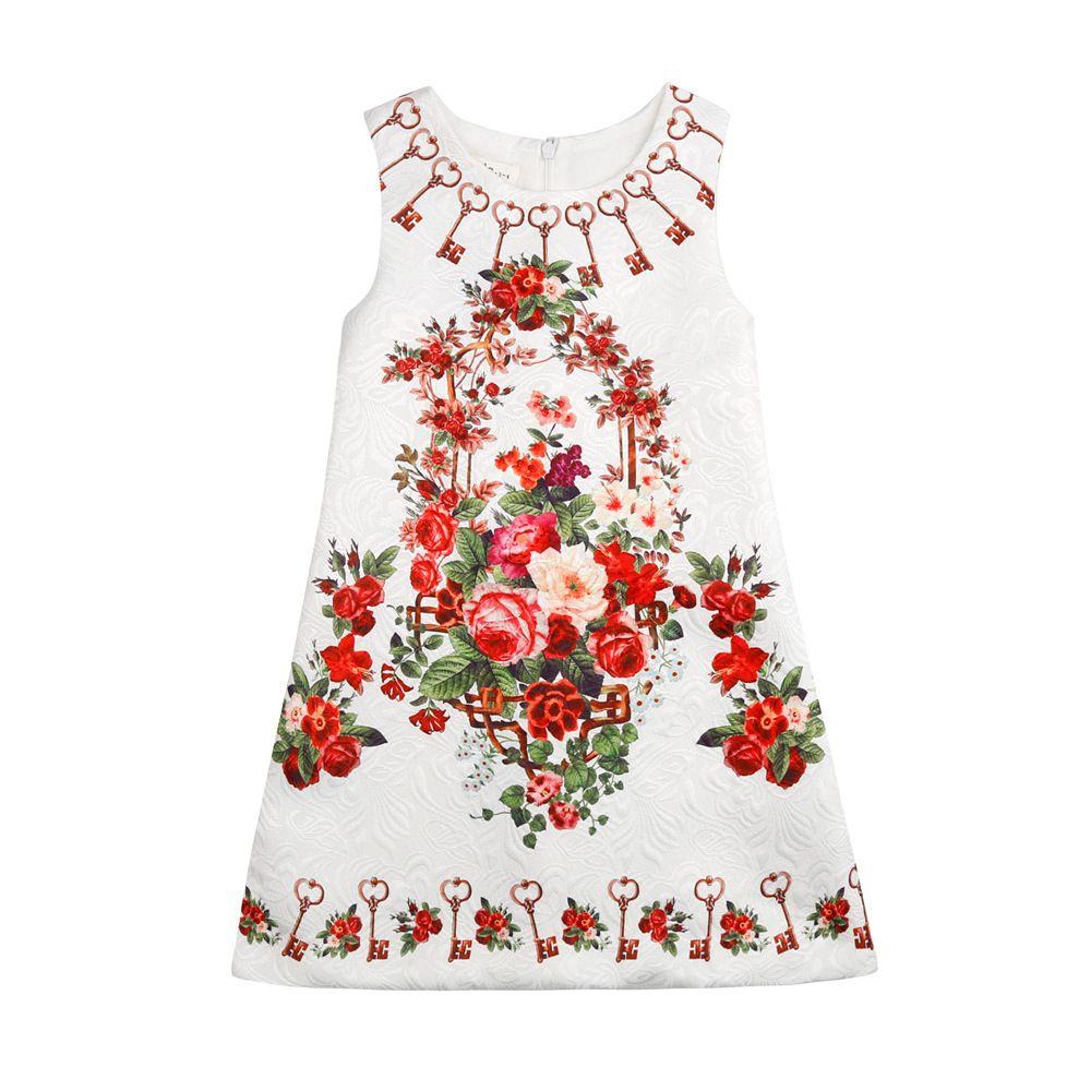 4c5f5407b8 Girls Floral Jacquard Dress Vintage Kids Girl Keys Party Dress Holiday  Children Clothing Wholesale Girls Floral Jacquard Dress Vintage Western  Dress ...
