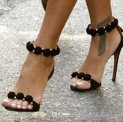 Grande taille 35-44 boules de couleur solide décor magnifique 10 CM talons hauts sandales grande taille talons femme rivets cloutés cheville wrap sandales
