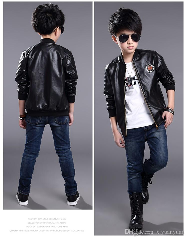 6a3830f34 Teenage Boys Bomber PU Leather Jacket Brand Kids Leather Jacket Big ...
