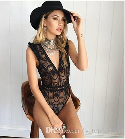f8f125cbda8be 2019 2017 New Sexy White Mesh Bodysuit Women Tops Transparent Summer  Jumpsuit Romper Fitness V Neck Hollow Out Party Club Bodysuits From  Ly topfashion