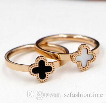 Wholesale fashion Korean version of the black and white color shells lucky grass ring women tail ring titanium steel rose gold jewelry