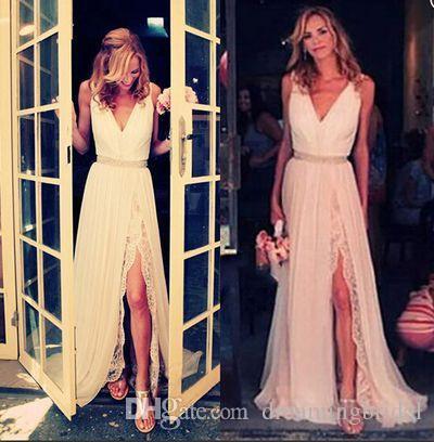 Schenkel-hohe Schlitz-V-Ausschnitt Strand-Hochzeits-Kleider Sleeveless eine Linie Chiffon- Hochzeitskleider nach Maß Plus Size vestido de noiva