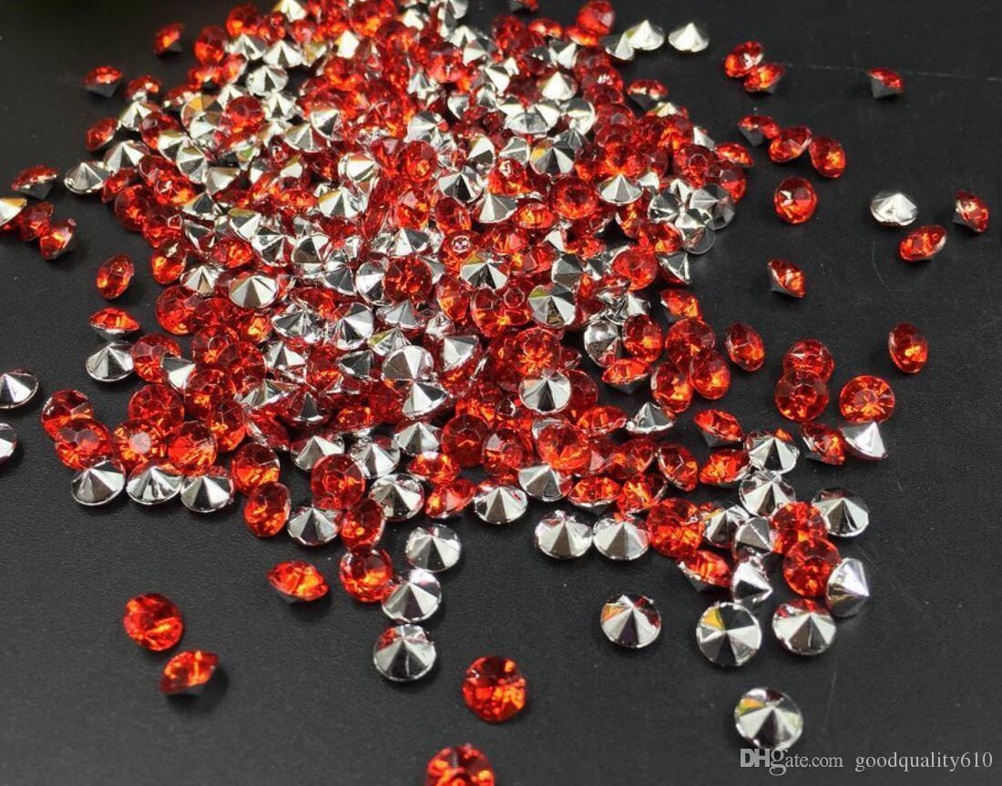 4mm Red Acrylic Diamond Confetti Wedding Party Table Scatters Crystal Decoration