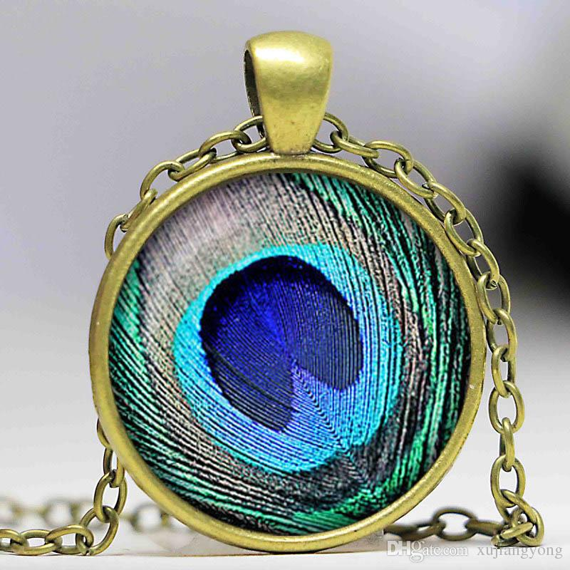 bird peacock peafowl color jewelry feather gifts product name wholesale necklace pendants glass locket statement dome pendant necklaces cute animal