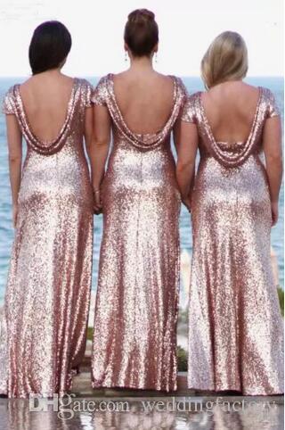 Bling Bling Bling Robes de demoiselle d'honneur rose Rose Gold Sequins Nouveau Pas cher Sirène Deux Pièces Deux Pièces Robes de bal Backless Back Beach Fête Robes