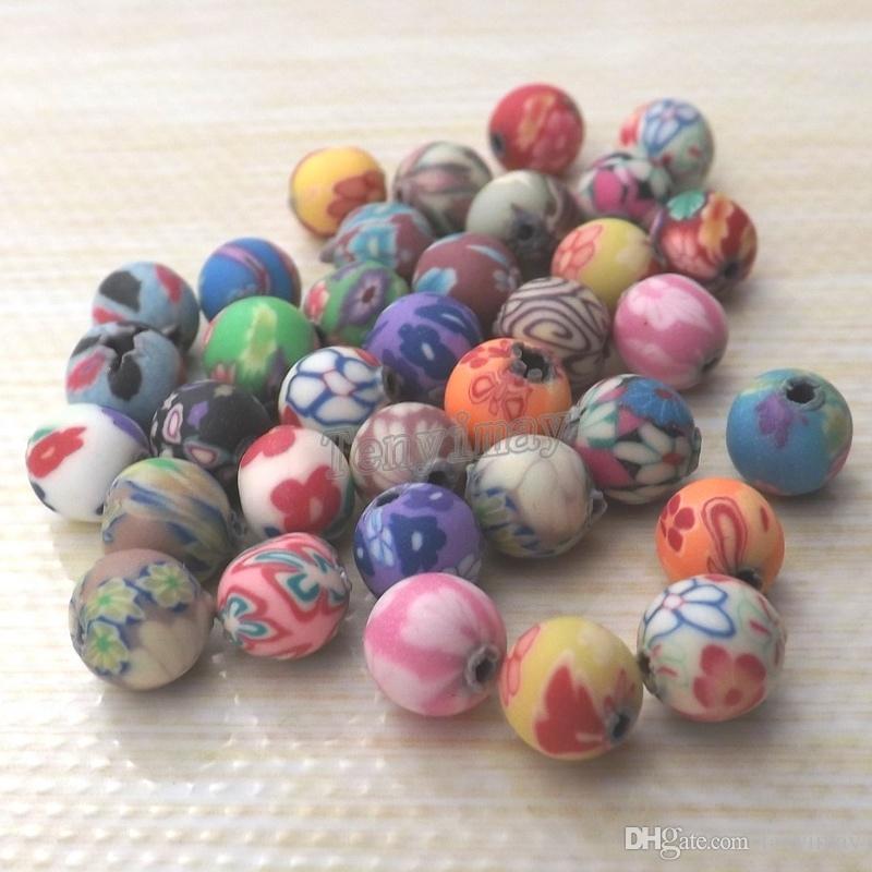 Haute qualité 6mm rondes en pâte polymère pour bijoux bricolage mixte livraison gratuite en gros