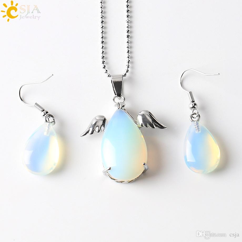 CSJA Angel Wing Water Tear Drop Pendant Charms Statement Necklace Copper Hook Earrings Christmas Birthday Easter Jewelry Set Girls Gift E391