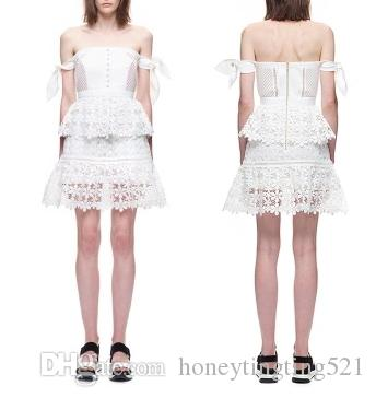c77328078b 2019 Women S 2017 New Design Fashion Sexy Off Shoulder Tube Top Lacing  Bandage Sleeve Lace Patchwork Short Dress Party Vestidos From  Honeytingting521