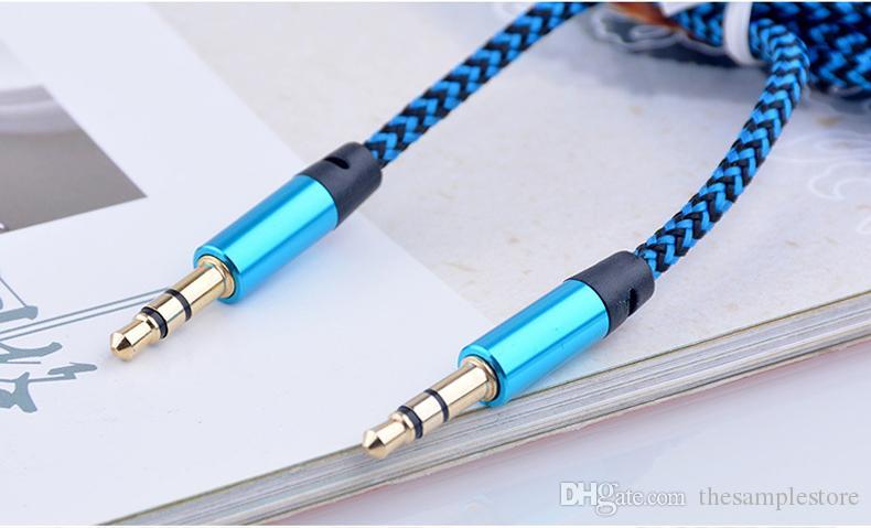 Aux trançado cabo audiop 3.5mm macho para cabo de áudio estéreo macho fio 1 m cabo 3FT para smartphone com pacote de varejo hl