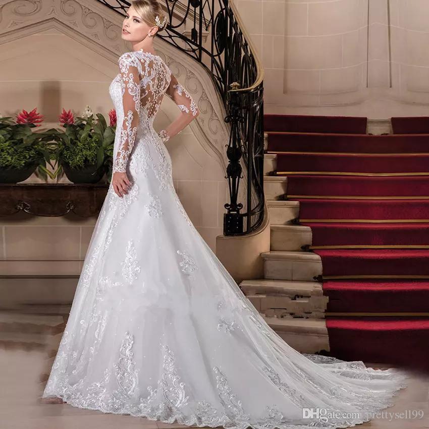 مخصص الأكمام الطويلة الرباط حورية البحر فساتين زفاف 2020 مع يزين الحبيب الرقبة تول الزفاف أثواب الزفاف