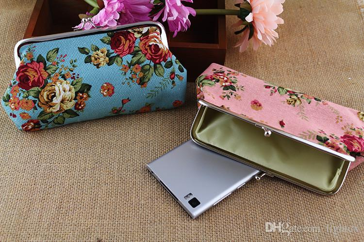Vendita calda fiore rosa delle donne del fumetto sveglio della moneta della borsa del telefono borsa caso portafoglio chiavi della carta sacchetto gufo ramo modello Hasp carteira