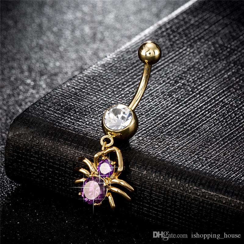 Allergic Free New Trendy Personality 18K Yellow Gold Plated Spider Belly Ring Sexy Spider Body Piercing Ring for Hot Girls Women BR-171