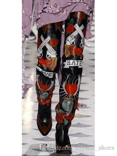 European Printing Leather Over-the-Boots Dames Femme Botas Black Fashions Bottes Jambes Femme Femme Slip On High Genouillères Femme