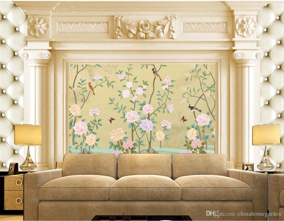 Classic Home Decor European Flowers And Birds Building Backdrop