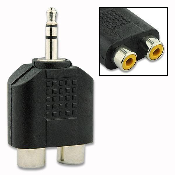Plaqué or / nickel 3.5mm Stéréo Mâle vers 2RCA 2 RCA Connecteur Adaptateur Audio 1x2 Splitter Dual RCA AV TV