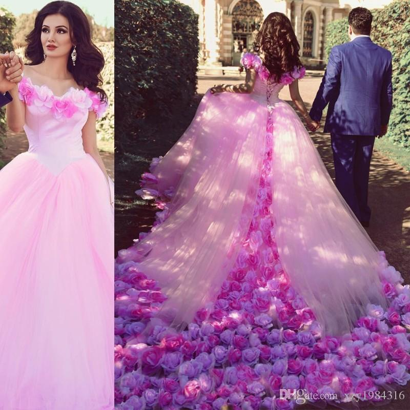 Hand Made Rose Flowers Pink Wedding Dress Sexy Off Shoulder Puffy Tulle Long Train Gowns 2017 Stylish Ball Gown Style Bridal China