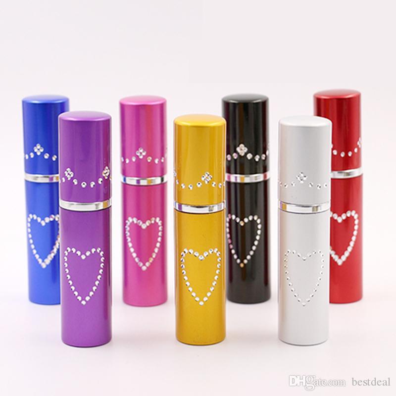 HOT 5 ml Corazón De Aluminio Botellas De Perfume Con Atomizador Spray Para Viaje De Aluminio Tapa Botella Atomizador Perfume Difusores De Aceites Esenciales