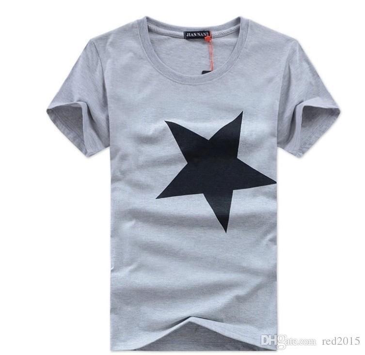 Wholesale-Hot Selling summer new large size men short-sleeve cotton loose T-shirt men Pentagram men casual t shirt
