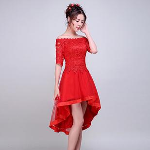 3d6da35849b4 Elegant Lace Short Puffy Red Bridal Prom Dresses High Low Off Shoulder Dress  For Girls Specail Occasions For Women H3621 Halter Prom Dresses Long Lace  ...