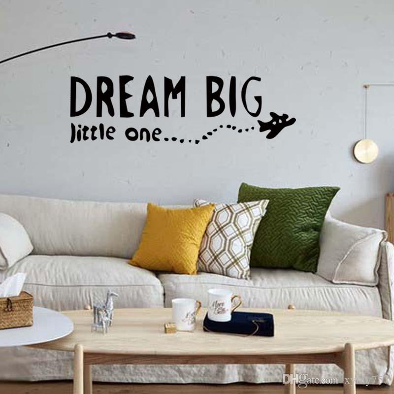 For Dream Big Little One Airplane Decal Wall Removable Vinyl Decor Sticker Bedroom Children Decorate Diy