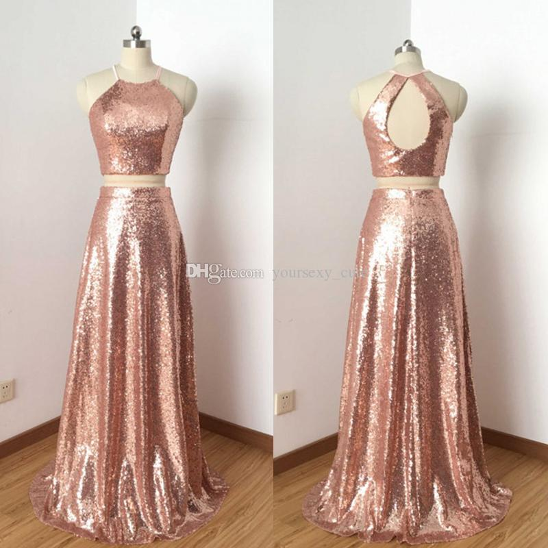Rose Gold Two Piece Sequin Prom Dresses 2018 Jewel Halter Keyhole ...