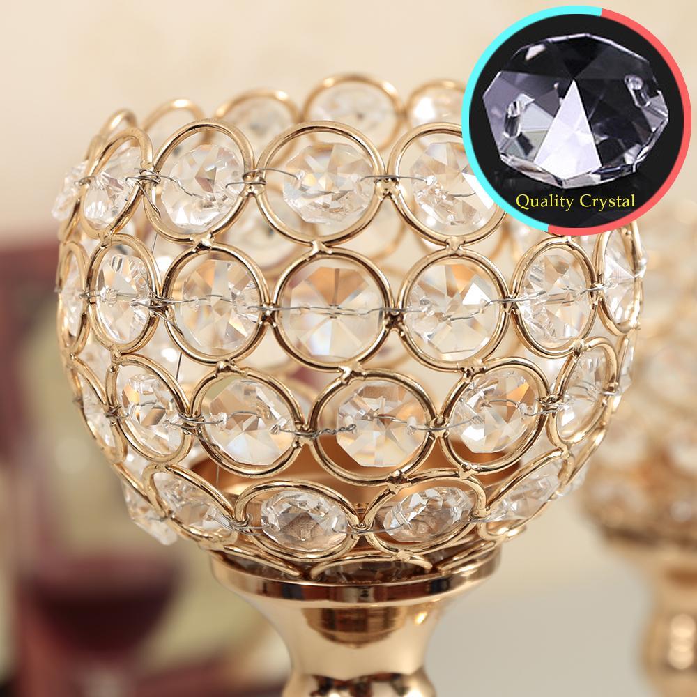 Set de candelabros de cristal de oro conjunto de centro de la boda Decoartion candelabros decoración del hogar chimenea candelabro cumpleaños regalo de inauguración