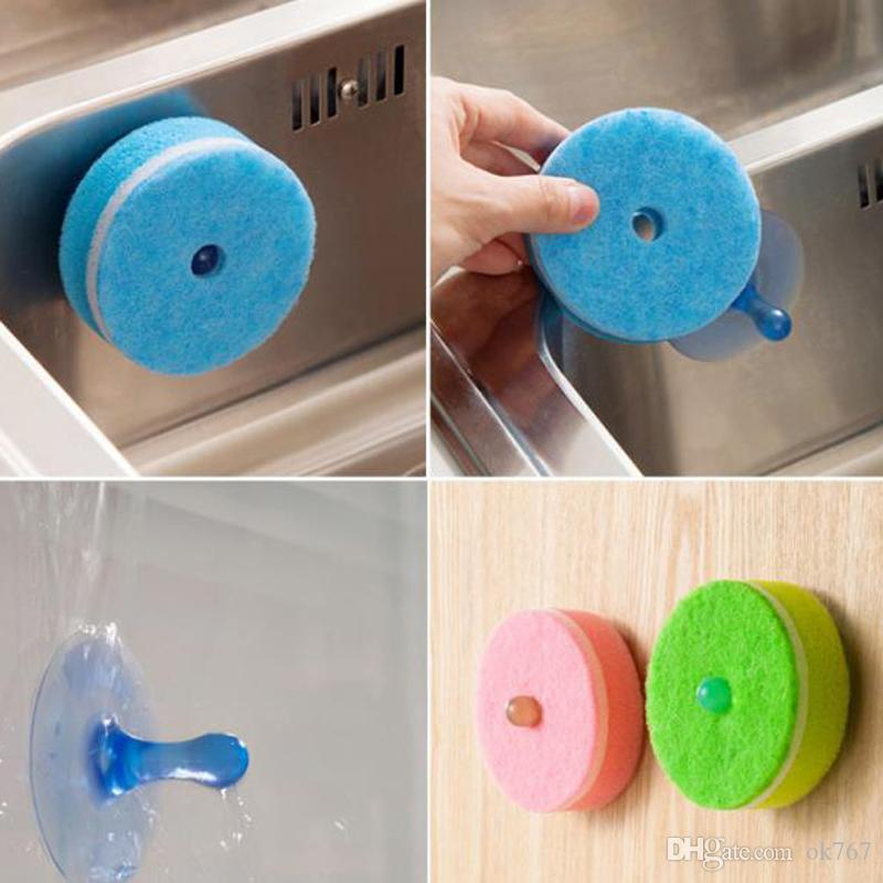 /sets sponge Strong Decontamination double faced Kitchen Dish Bowl Washing cleaning cloth dish towel+vacuum chuck