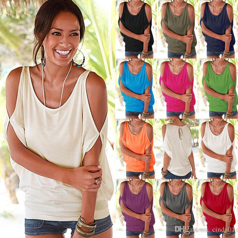 Casual Tshirts Summer Women Short Sleeved Loose Candy Color Batwing Short Sleeved Open Cold Shoulder Top Fashion Clothing Tees
