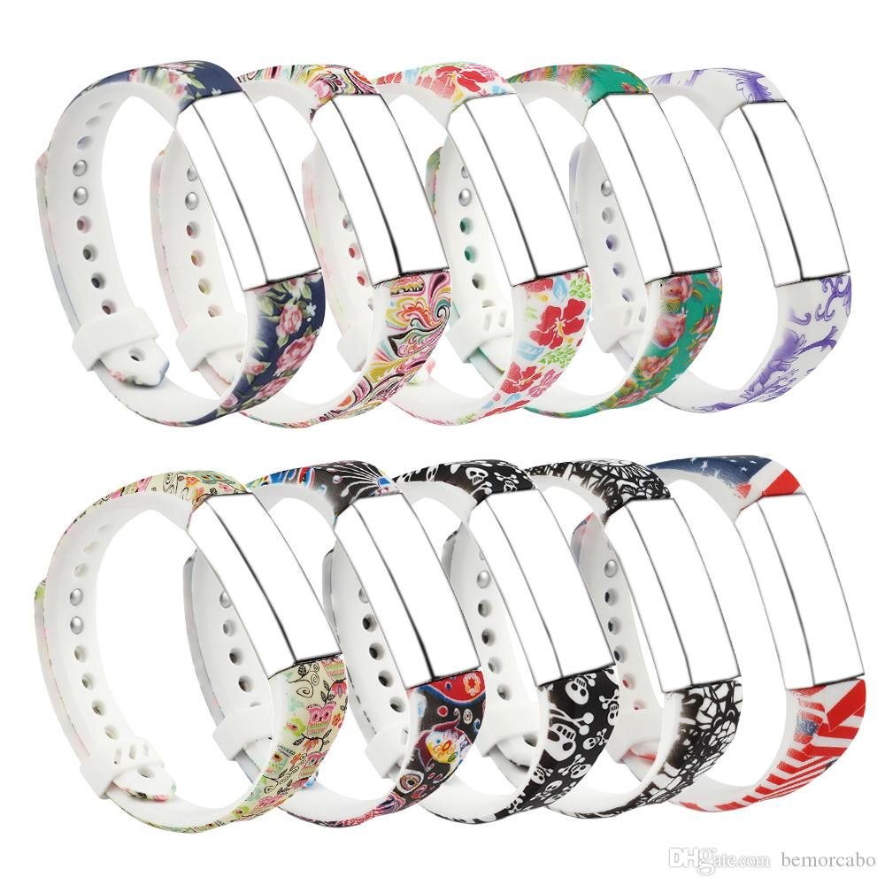 Replacement Band for Fitbit Alta, Silicone Strap with Metal Clasp, Flower  Printing Design, Small Size