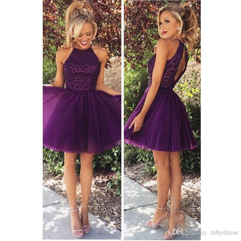 1ff61ae18ff Sexy Short Purple Cocktail Dresses 2017 Beaded Tulle Special Occasion Party  Dress For Girls A Line Homecoming Gowns Junior Plus Size Cocktail Dresses  Ladies ...