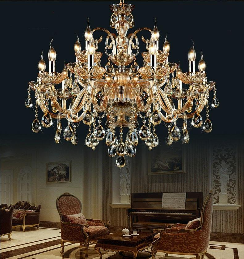 Free Shipping 15 Arms crystal chandelier Light Luxury Modern crystal Lamp chandelier Lighting champage Crystal Top K9