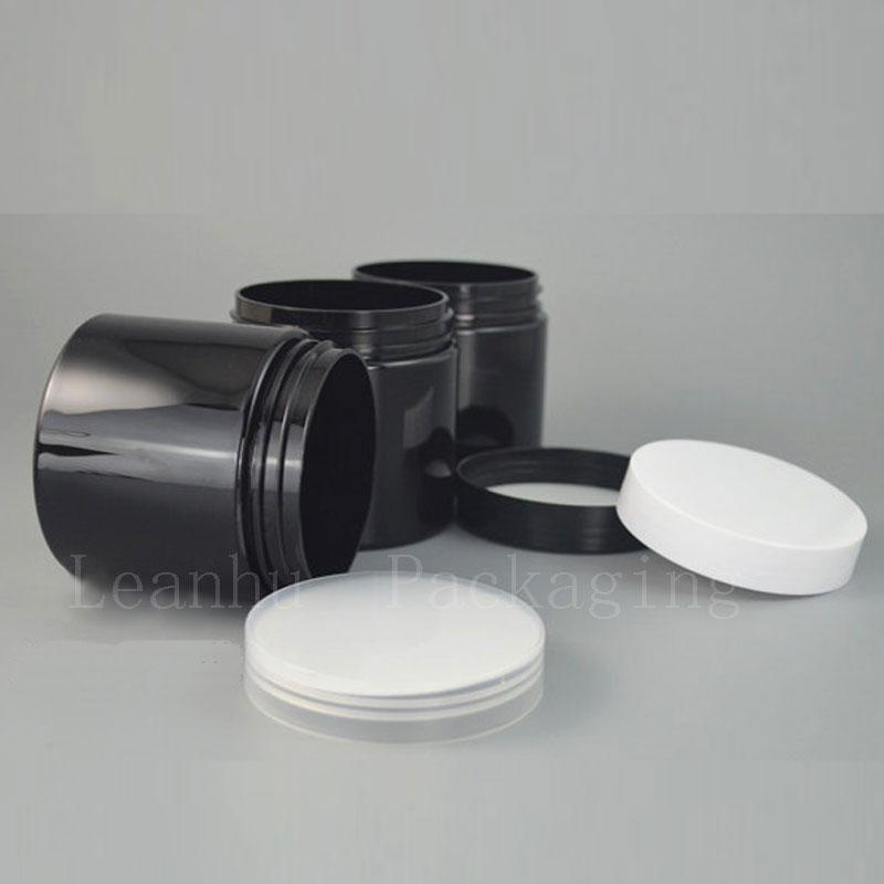 Tarro de crema negro con tapón de rosca de plástico, envase cosmético vacío, crema de ojos recargable 250G, crema personal para el cuidado de la piel Tarros de enlatado