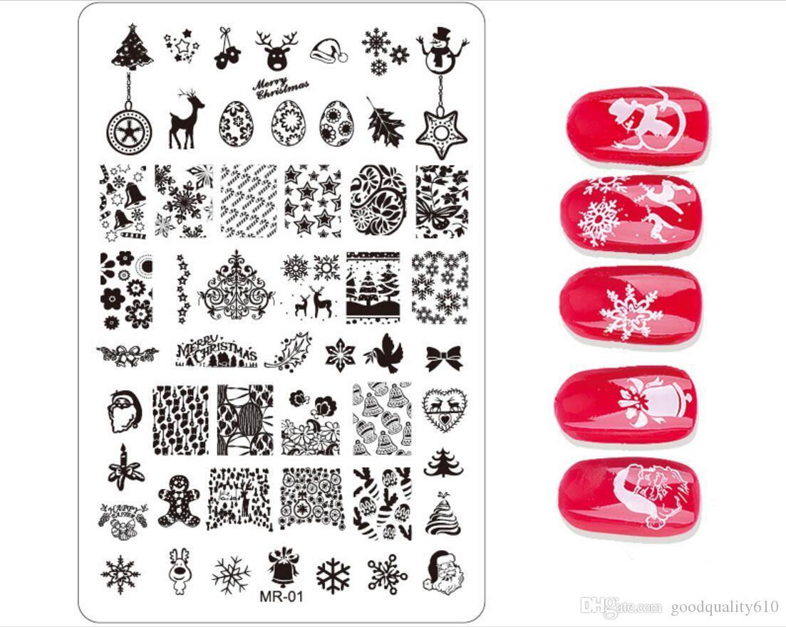 New Stainless Steel Rectangle Manicure Template Nail Art Printing Polish Stamp Image Plate Christmas Elements Pattern