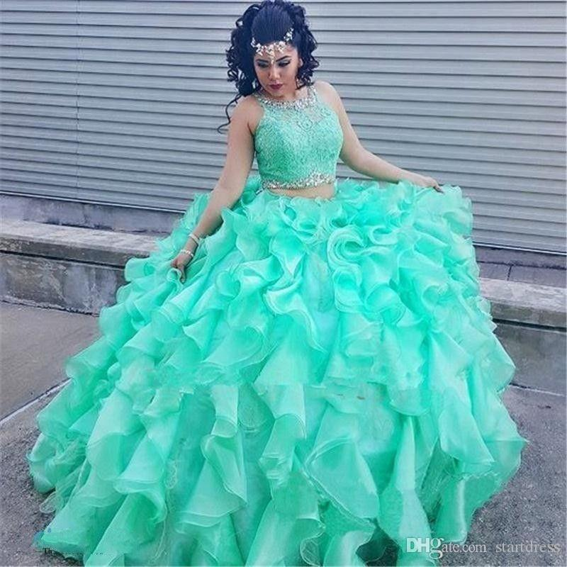 Mint Green Ball Gown Deux-pièces Quinceanera Robes Organza Ruffles Prom Robes Formelles Perles Dentelle Jewel Quinceanera Robes