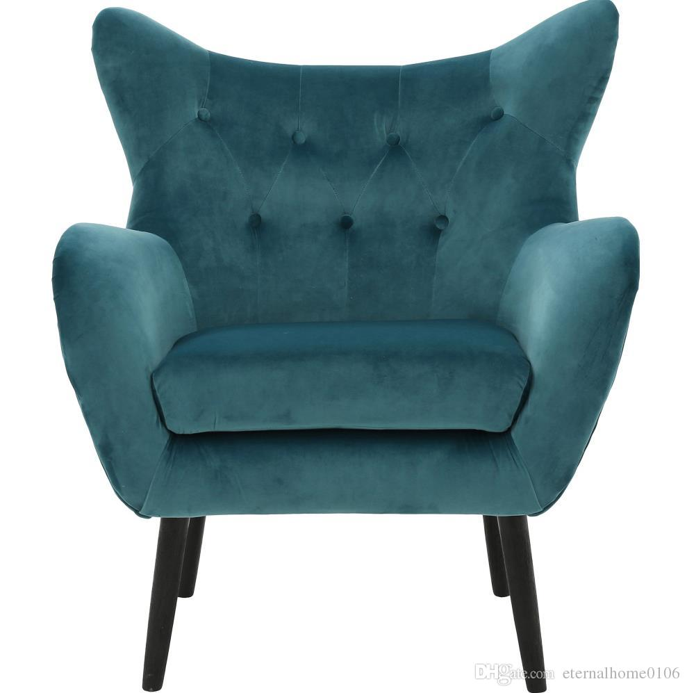 Produktgröße: 35 * 31,5 * 41 H. Mid Century Modern Sessel Sofa Stuhl Beine  Holz Leinen Polsterung Wohnzimmer Möbel Schlafzimmer Armstuhl Akzent Stuhl