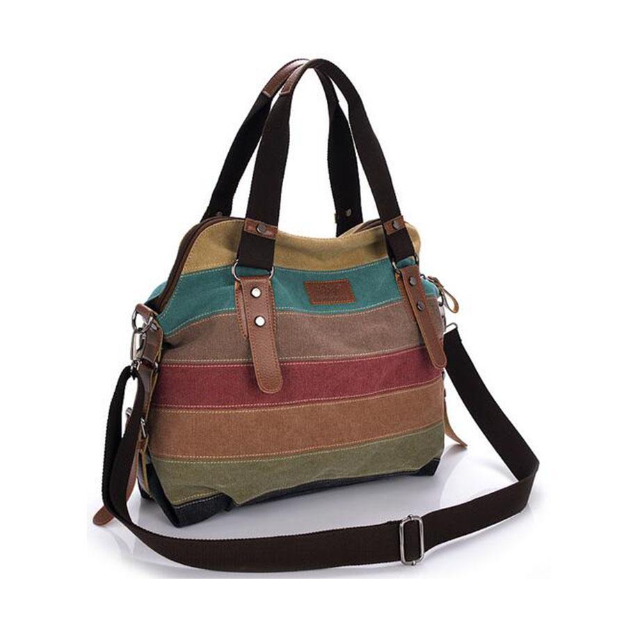 Wholesale Canvas Bag Tote Striped Women Handbags Patchwork Women Shoulder  Bag New Fashion Sac A Main Femme Casual Bolsos Mujer Women Bag Leather  Backpack ... e59b810e60b8e