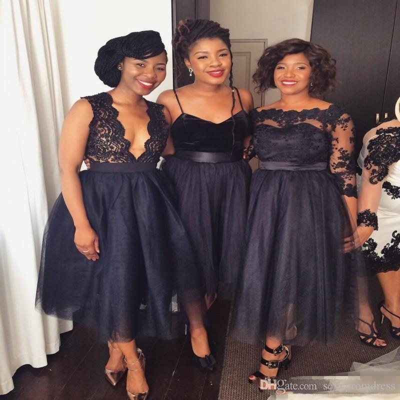 16bfa01ec6c9 Nigeria Black Lace And Tulle Bridesmaid Dresses 2017 2018 Tea Length Bridesmaid  Gowns Spaghetti Deep V Neck Wedding Guest Formal Dress Bridesmaids Dresses  ...