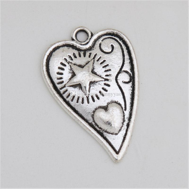 سحر الأزياء العتيقة الفضة تصفيح القلب مع النجم والقلب أثار التي AAC704