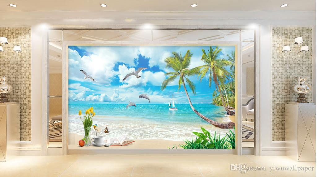 Hohe Qualität Costom Coconut Meerblick Landschaft Bild TV Wandbild 3d wallpaper 3d Tapeten für TV Hintergrund