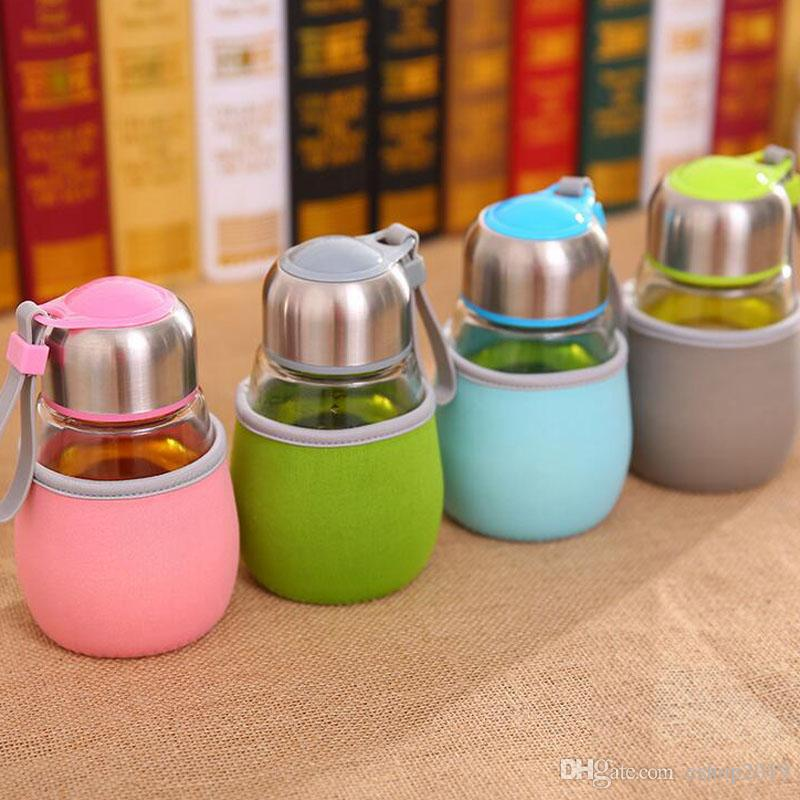 Popolare 400ML bottiglia di acqua di vetro pinguino tazza di vetro di figura con il sacchetto regalo Tè Infuser studenti Sports Cup Bottiglie Bootle di viaggio Mug