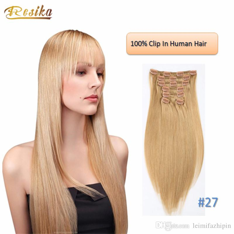 Sexy Long Fashion Straight Clip In Human Hair Extensions 70g 220g