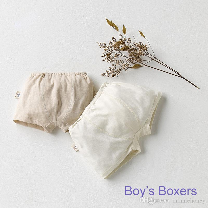 Children's Organic Cotton Solid Boxers Underwear Baby Boy Girl Breathable Panties Kid's Shorts Color Cotton Underwear