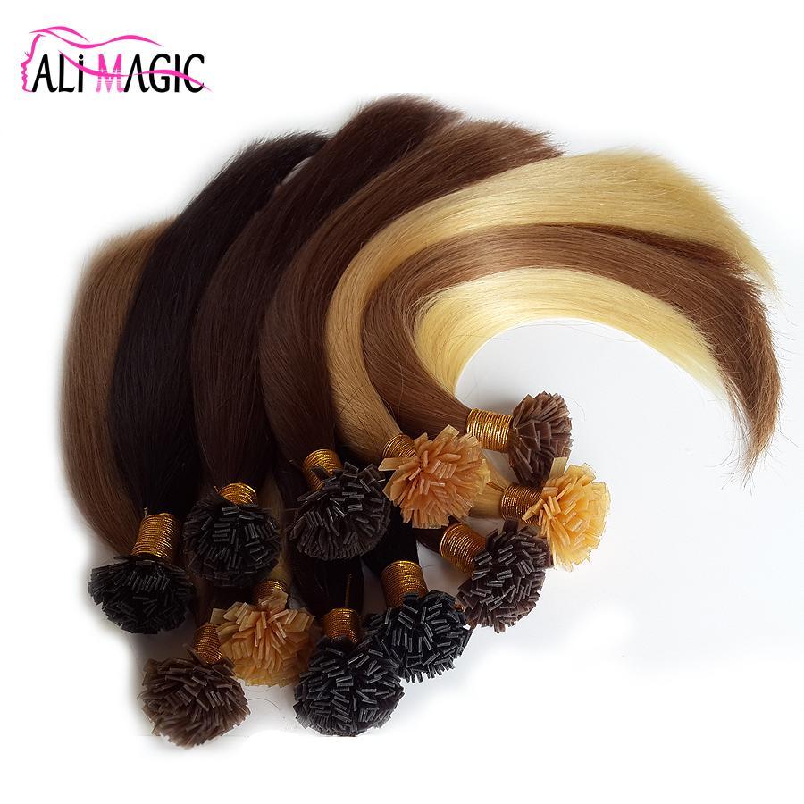 New 2018 Nail Tip Italian Keratin Hair Extensions I Tip Virgin